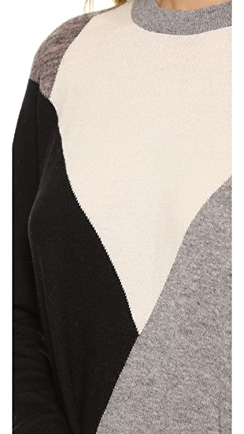 Derek Lam 10 Crosby Tunic Patchwork Sweater Dress