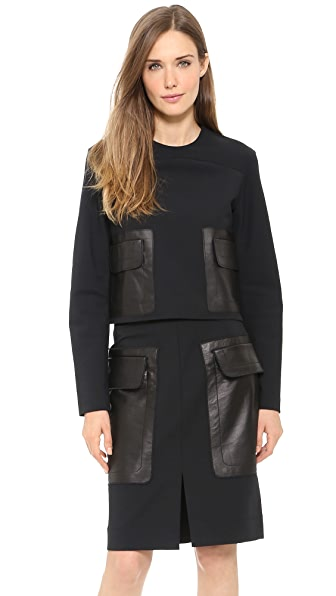 Derek Lam 10 Crosby Long Sleeve Top with Patch Pocket