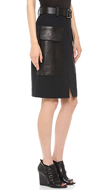 Derek Lam 10 Crosby Belted Patch Pocket Skirt