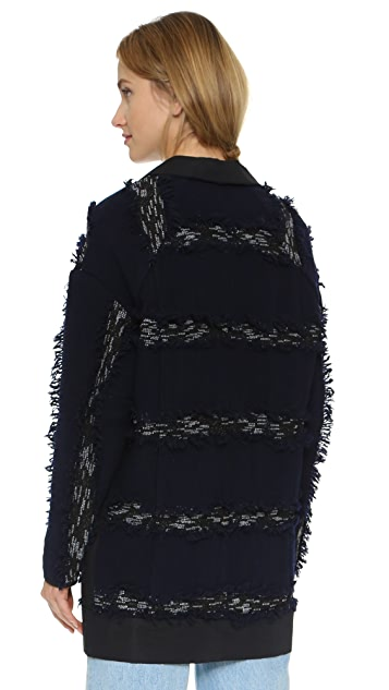 Derek Lam 10 Crosby Fringe Stripe Car Coat