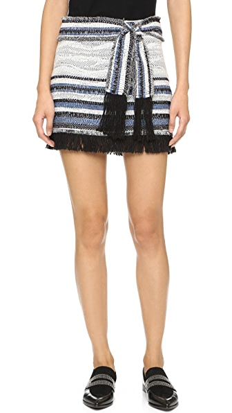 Derek Lam 10 Crosby Basket Weave Skirt With Fringe Detail - Denim/Black/White