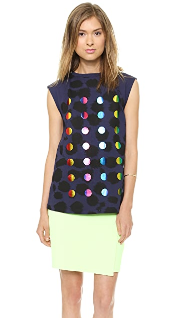 Etre Cecile Allover Cheetah Foil Dots Tank