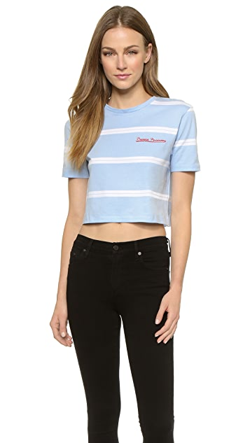 Etre Cecile Stripe Cerulean Crop T-Shirt