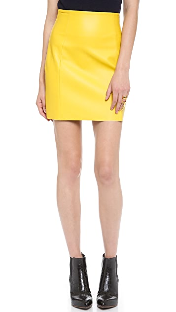 Cedric Charlier Imitation Leather Miniskirt