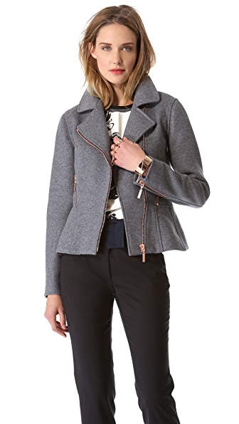 Cedric Charlier Felt Motorcycle Jacket with Rose Hardware
