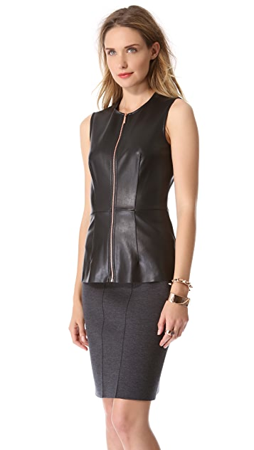 Cedric Charlier Sleeveless Faux Leather Top