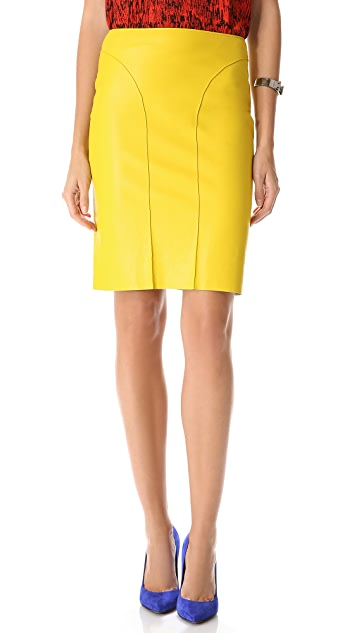 Cedric Charlier Faux Leather Seamed Skirt
