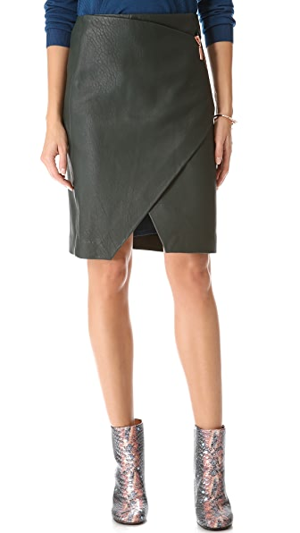 Cedric Charlier Asymmetrical Leather Skirt