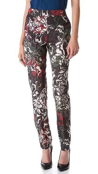 Cedric Charlier Satin Printed Pants
