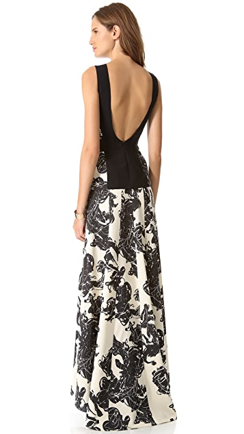 Cedric Charlier Print Seamed Gown