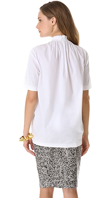 Cedric Charlier Short Sleeve Poplin Top