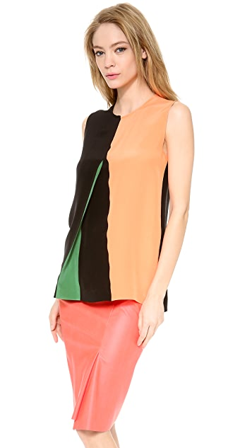 Cedric Charlier Colorblock Shell Top