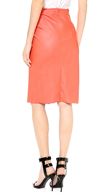 Cedric Charlier Faux Leather Twist Skirt