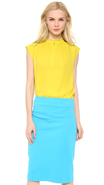 Cedric Charlier Silk Sleeveless Blouse
