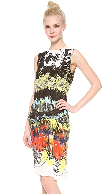Cedric Charlier Printed Sleeveless Dress with Front Draping