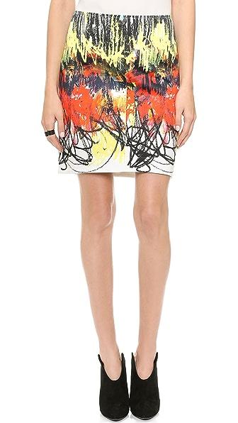 Cedric Charlier Printed Cotton Miniskirt