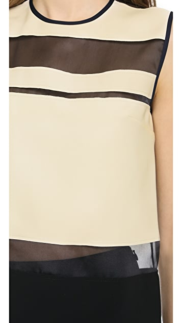 Cedric Charlier Sheer Stripe Top