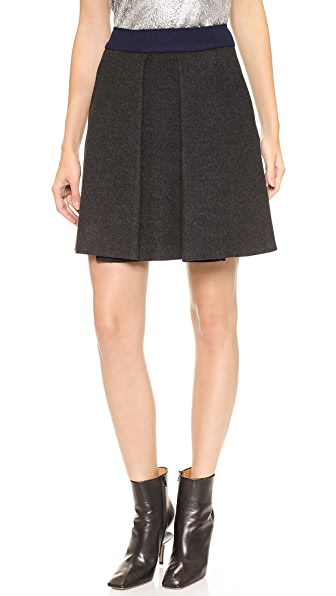 Cedric Charlier Pleated Wool Skirt
