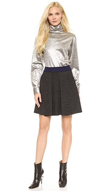 Cedric Charlier Pleated Wool Skirt
