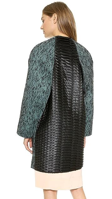 Cedric Charlier Zip Coat with Snake Embossed Back