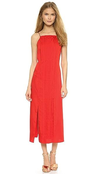 Cedric Charlier Pleated Split Hem Dress - Red