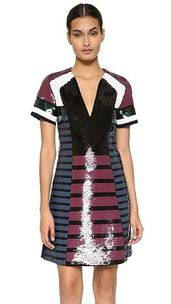 Cedric Charlier Short Sleeve Sequin Dress - Multi
