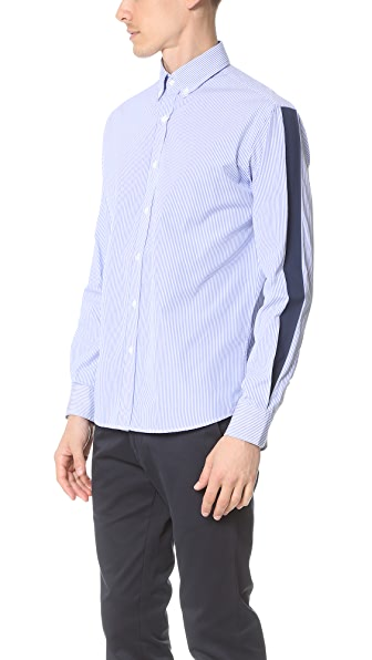 Capital Goods Button Down Printed Stripe Shirt