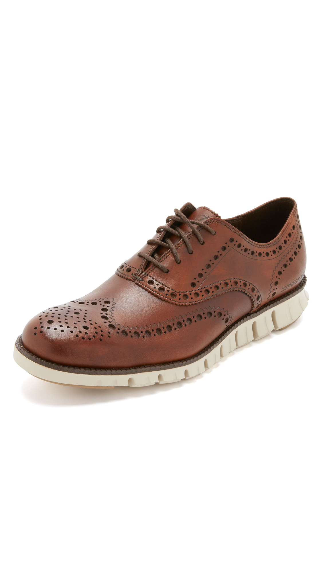 COLE HAAN Men'S Zerogrand Leather Wing-Tip Oxford, Brown in British Tan