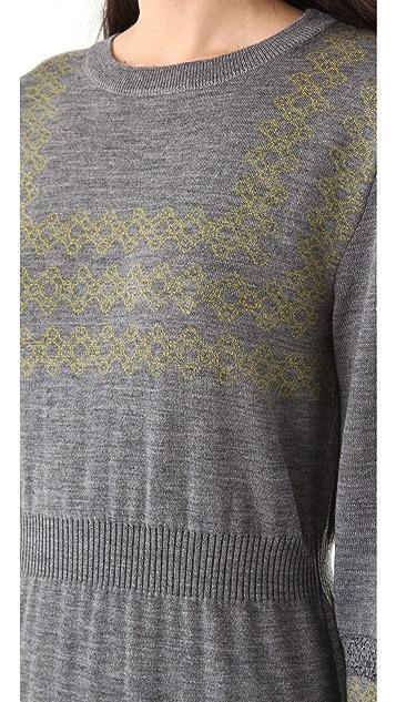 Chalayan Grey Line Intarsia Dress