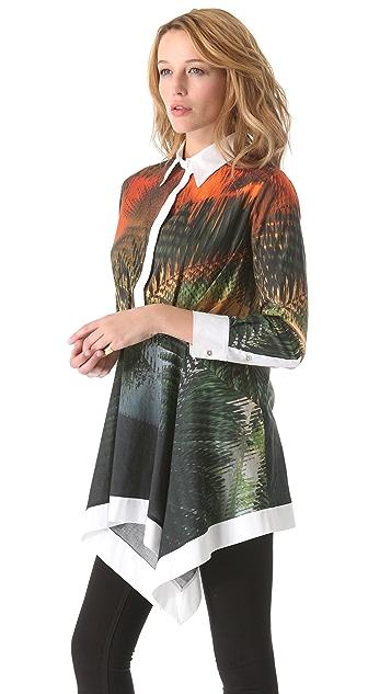 Chalayan Grey Line Print Handkerchief Tunic