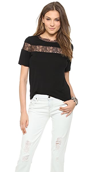 Chalk Riding Tee with Lace Inset