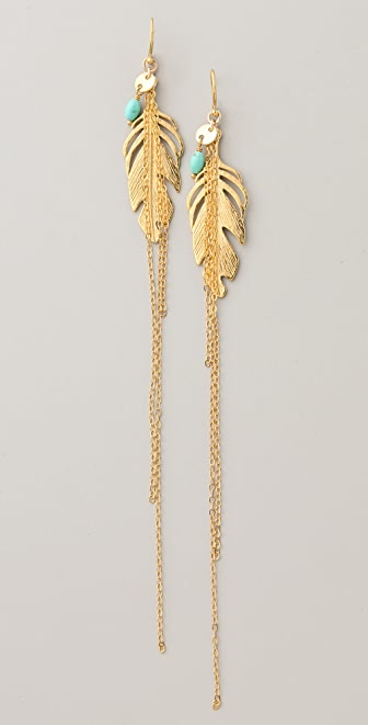 Chan Luu Chain & Feather Earrings