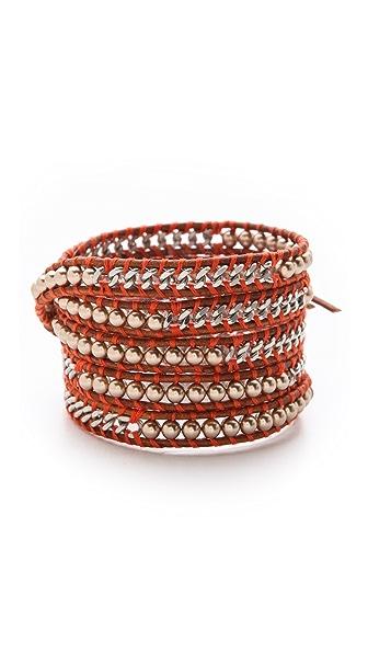 Chan Luu Chain & Imitation Pearl Wrap Bracelet