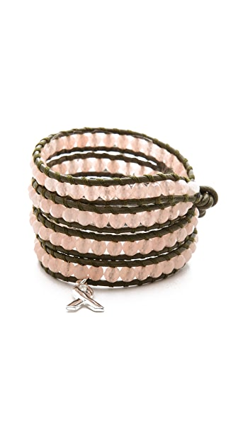 Chan Luu Breast Cancer Awareness Beaded Wrap Bracelet