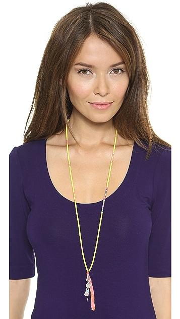 Chan Luu Beaded Tassel Charm Necklace