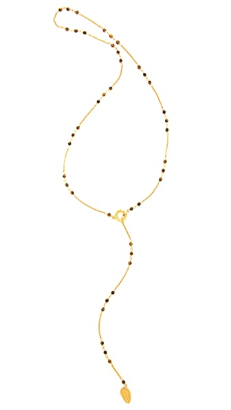 Chan Luu Beaded Lariat Leaf Necklace