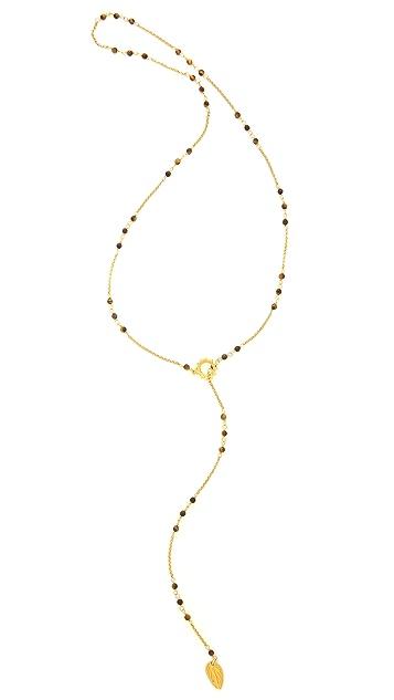 Chan Luu Beaded Lariat Leaf Necklace