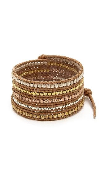 Chan Luu Metallic Beaded Wrap Bracelet