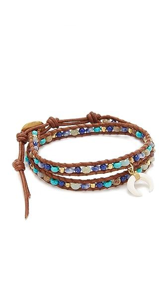 Chan Luu Wrap Beaded Crescent Charm Bracelet