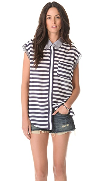 Charles Henry Sleeveless Button Front Blouse