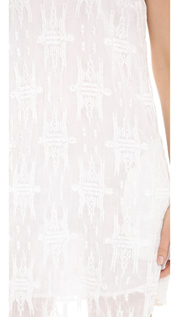 Charles Henry Embroidered Slip Dress