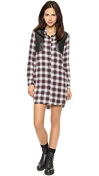 Charles Henry Long Sleeve Plaid Shirtdress