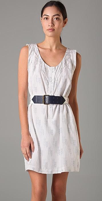 Charlotte Ronson Scoop Neck Belted Dress