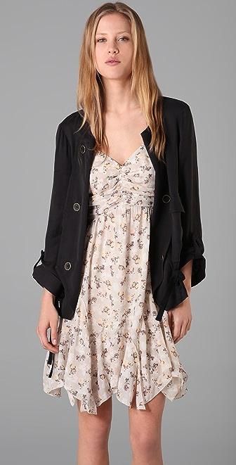 Charlotte Ronson Collarless Cargo Jacket