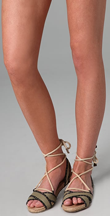 Charlotte Ronson Canvas Espadrille Flat Sandals