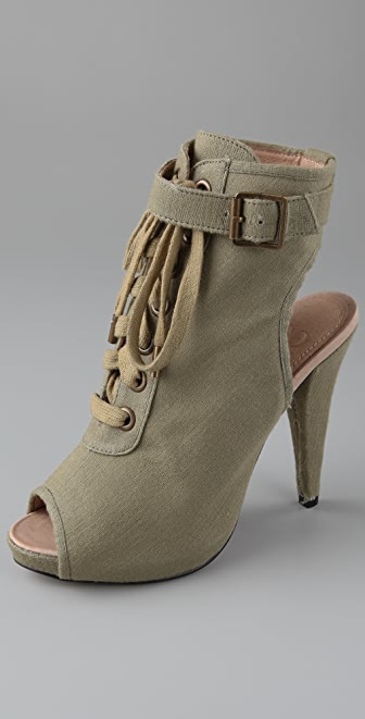 Charlotte Ronson Kurt Open Toe Canvas Booties