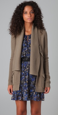 Charlotte Ronson Waffle Knit Cardigan with Belt