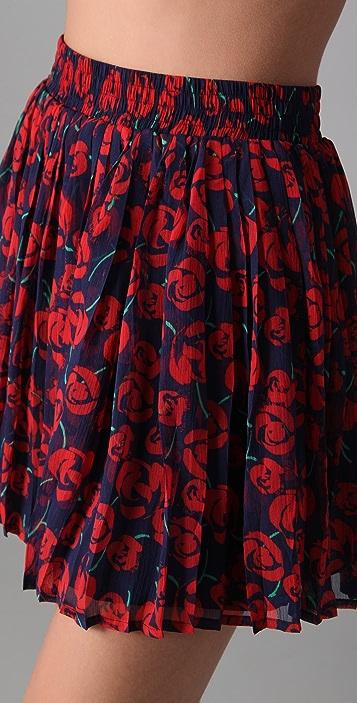 Charlotte Ronson Pleated French Tulip Print Miniskirt