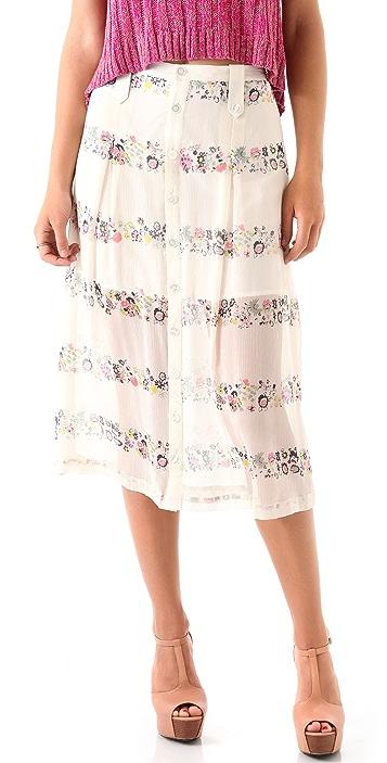 Charlotte Ronson Floral Button Midi Skirt