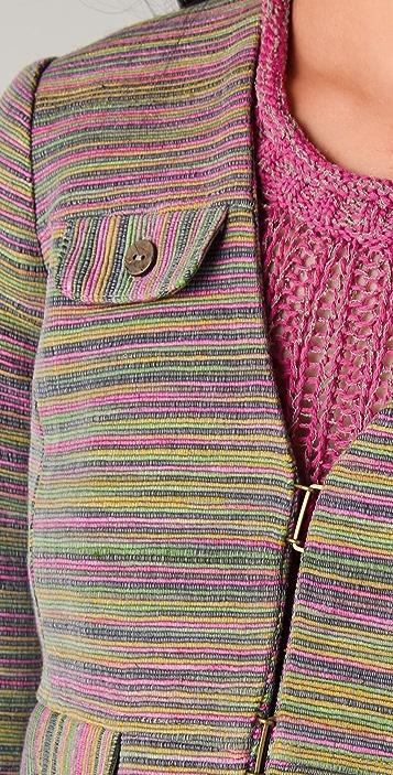 Charlotte Ronson Multi Stripe Shrunken Jacket